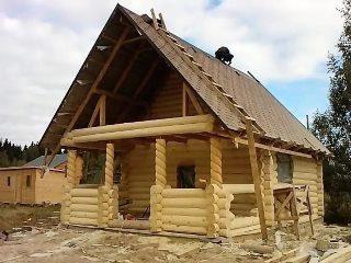 Фото процесса строительства бани с верандой в Воронеже